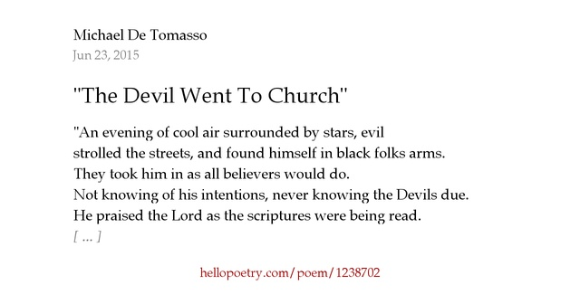 """The Devil Went To Church"" by Micahel De Tomasso - Hello Poetry"