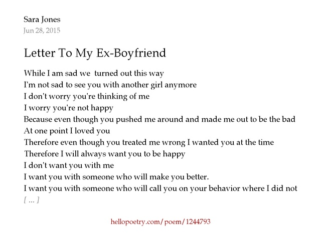 Letter To My Ex Boyfriend by Sara Jones Hello Poetry