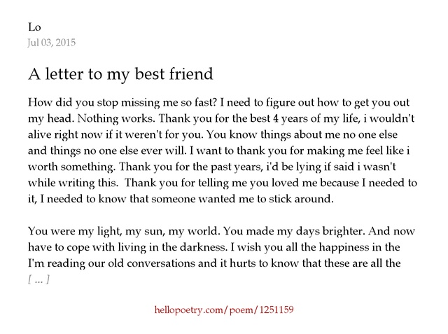 A letter to my best friend by Diba Hello Poetry