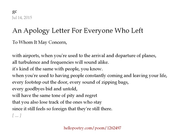 An apology letter for everyone who left by proseache hello poetry thecheapjerseys Gallery