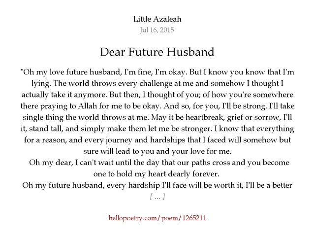 a letter for my future husband essay Message to my future husband future essay essay about my future husband husband letter to my future husband:.