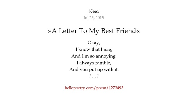 a letter to my best friend poem 187 a letter to my best friend 171 by neex hello poetry 19103