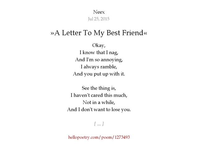 A Letter To My Best Friend by Neex Hello Poetry