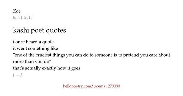Poet Quotes Adorable Kashi Poet Quoteszoë  Hello Poetry