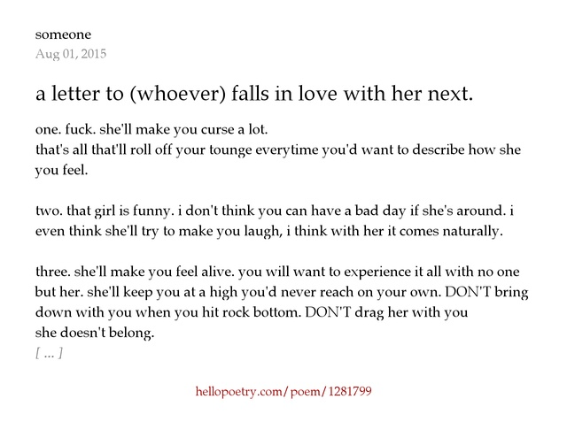 a letter to whoever falls in love with her next by someone