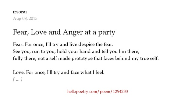 I Hate My Self Poems: Fear, Love And Anger At A Party By Irsorai