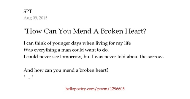 How could you mend a broken heart