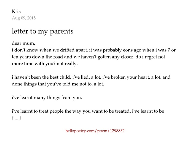 letter to my parents by Kris - Hello Poetry