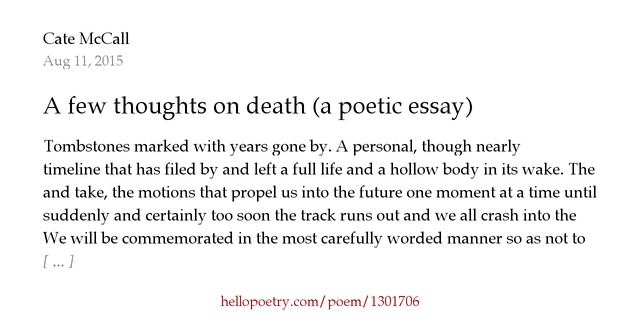 what are the poets feelings about life and death essay She could accurately convey those feelings and experiences in a  lip service to male poets,  on the planet and bring life and death in equal.