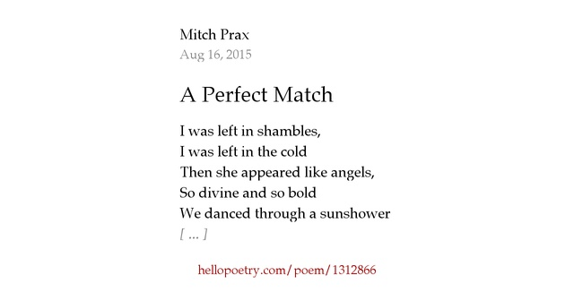 A Perfect Match by Mitch Prax  Hello Poetry # Sunshower Poem_110310