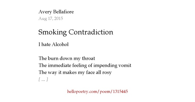 I Hate The Way Poem: Smoking Contradiction By Nicolette Avery Pizzigoni