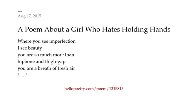 Tony Greenstein Blog: A Poem About A Girl Who Hates Holding Hands By Anthony
