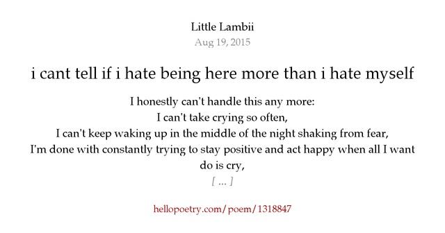 I Hate My Self Poems