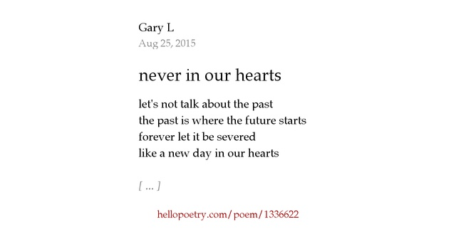 never in our hearts by GaryL - Hello Poetry