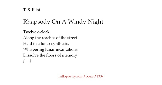modernism t s eliots rhapsody on Two years passed before this disconcerting poem was published in eliot's first book, but today most critics realise that it announces the arrival in verse of english-language literary modernism.