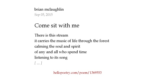 Come sit with me by brian mclaughlin - Hello Poetry