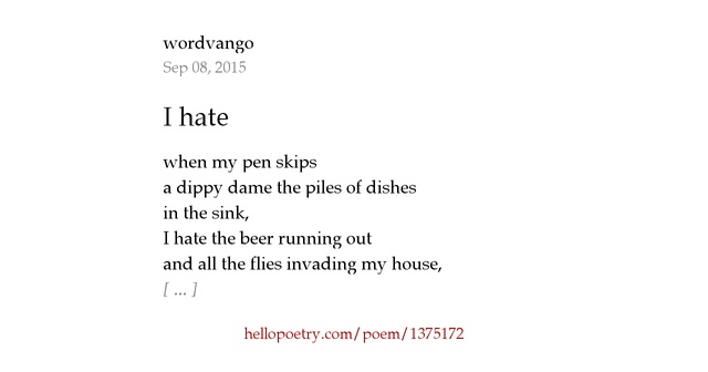 I Hate You Poems: I Hate By Wordvango