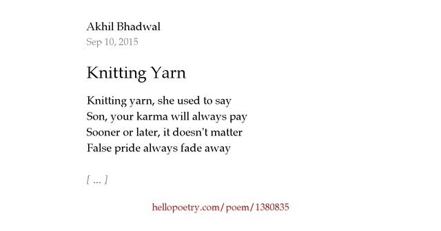 Knitting Rhyme Words : Knitting yarn by akhil bhadwal hello poetry