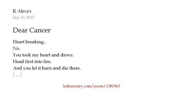 I Hate My Mom Poem: Dear Cancer By K Alexys