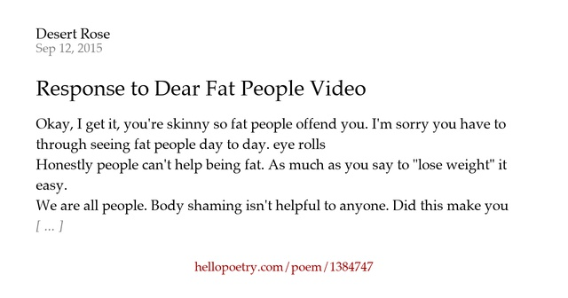 Fat People Poems 76