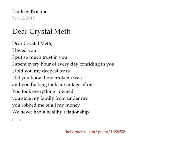 Meth My Is Meth Name Poem I've solution Each