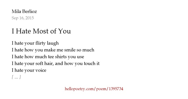 I Hate The Way Poem: I Hate Most Of You By Mila Berlioz