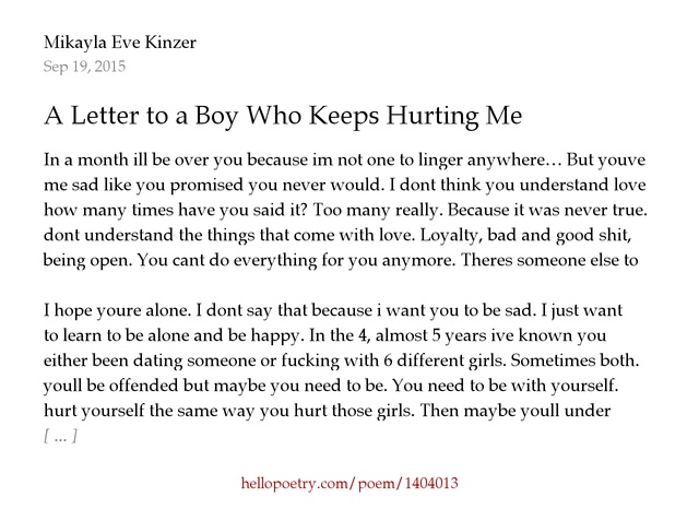 A Letter to a Boy Who Keeps Hurting Me by Mikayla Eve Kinzer