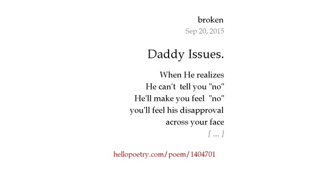 Daddy Issues By Killme Hello Poetry