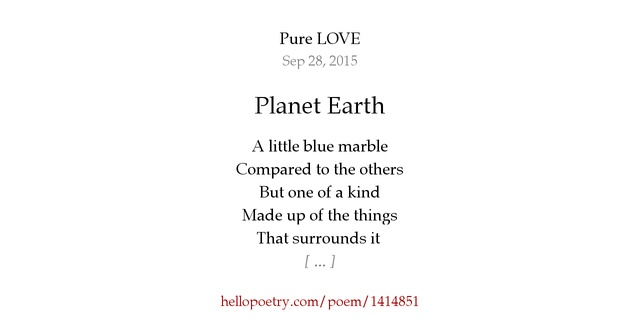 Planet Earth by Pure LOVE - Hello Poetry