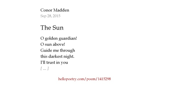 The Sun by Conor Madden - Hello Poetry