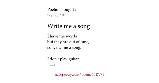 Tony Greenstein Blog: Write Me A Song By Poetic Thoughts