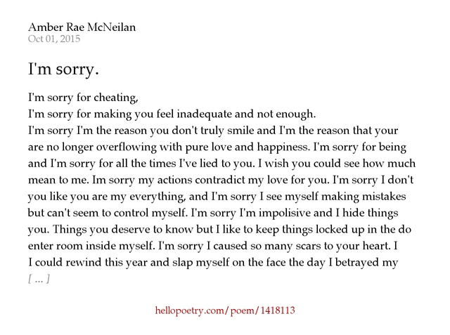 Im sorry by amber rae mcneilan hello poetry altavistaventures Choice Image