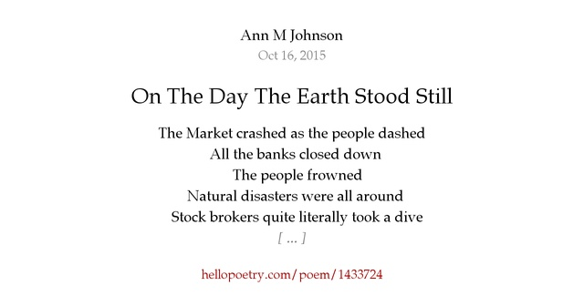 On The Day The Earth Stood Still by Ann M Johnson - Hello ...