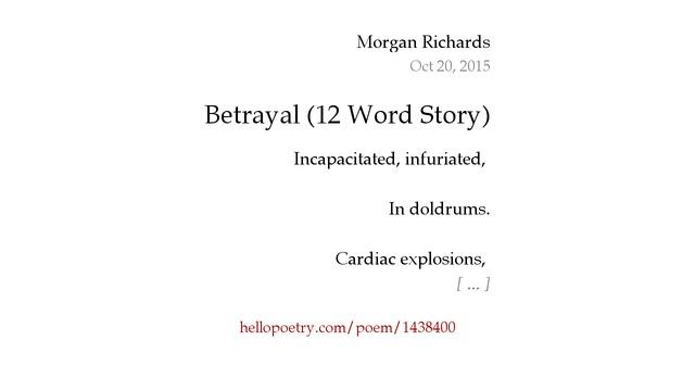 Betrayal Poems: Betrayal (12 Word Story) By Phasma De Oceanus