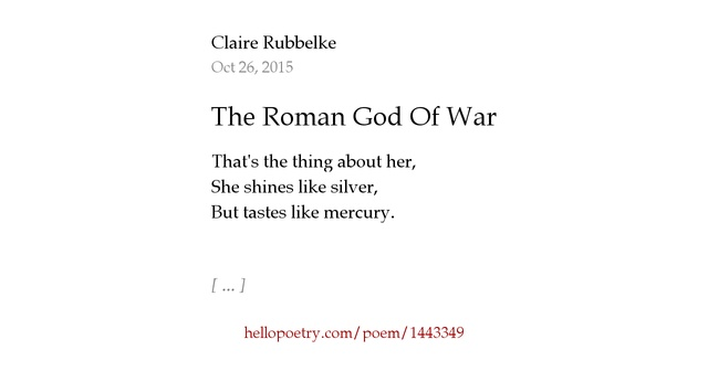The Roman God Of War by Claire R — Hello Poetry