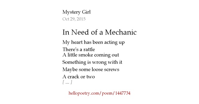 How To Check Oil >> In Need of a Mechanic by Mystery Girl - Hello Poetry