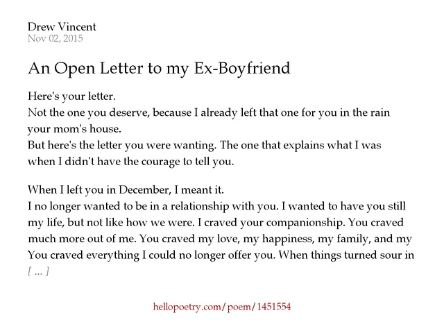 An Open Letter to my ExBoyfriend by Drew Vincent Hello Poetry
