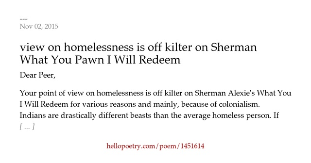characters in what you pawn i will redeem Literary analysis, native-americans - what you pawn i will redeem by sherman alexie.