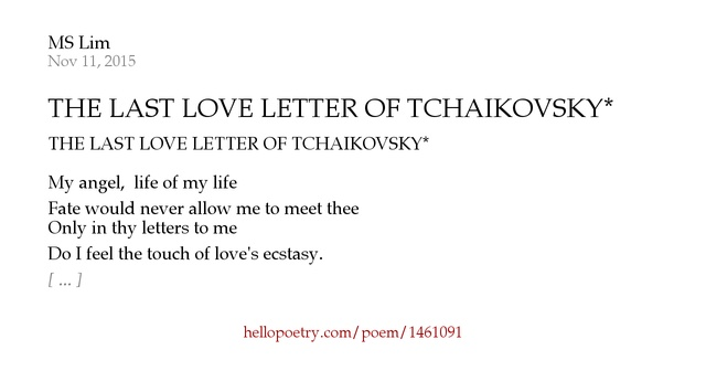 the last love letter of tchaikovsky  by ms lim