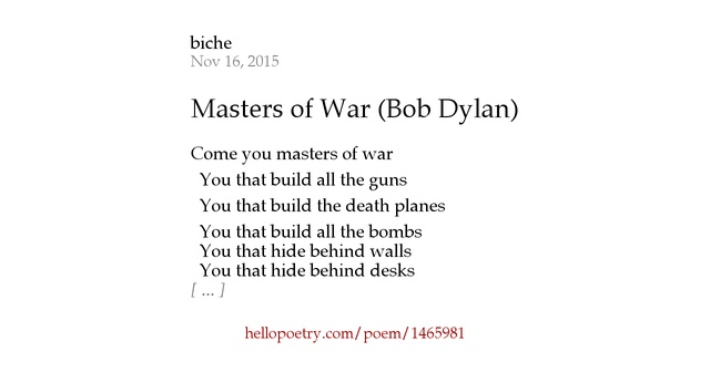bob dylan poetry Robert allen zimmerman, music own's poet laureate better known as bob dylan, has won the nobel prize for literature his influence still pervades genres from rock.