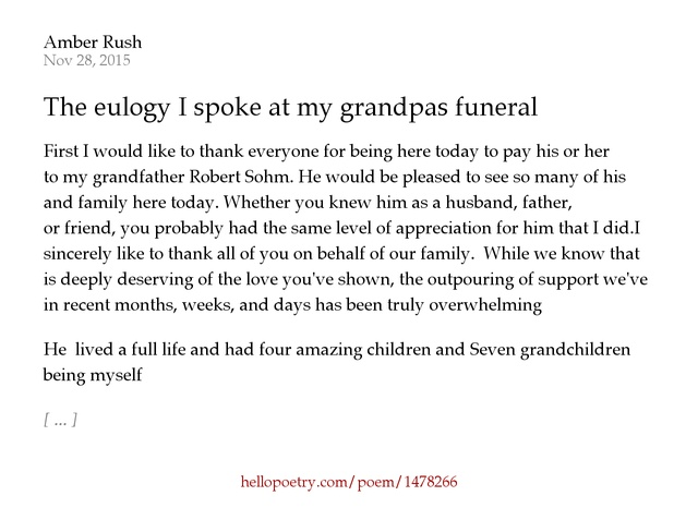 funeral speech for grandpa