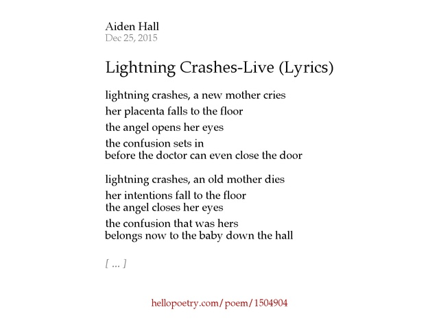 Lightning Crashes Live Lyrics by Aiden Hall Hello Poetry