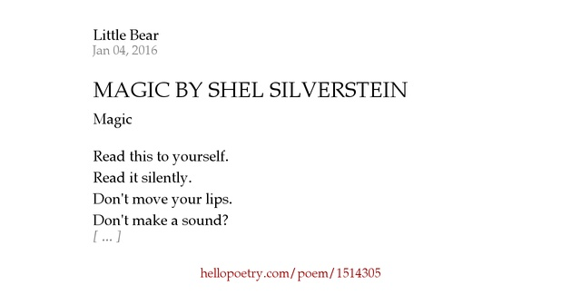 The Voice By Shel Silverstein: MAGIC BY SHEL SILVERSTEIN By Little Bear