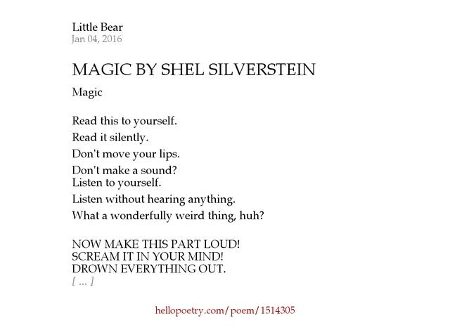 MAGIC BY SHEL SILVERSTEIN by Little Bear - Hello Poetry