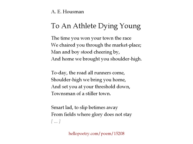 to an athlete dying young analysis