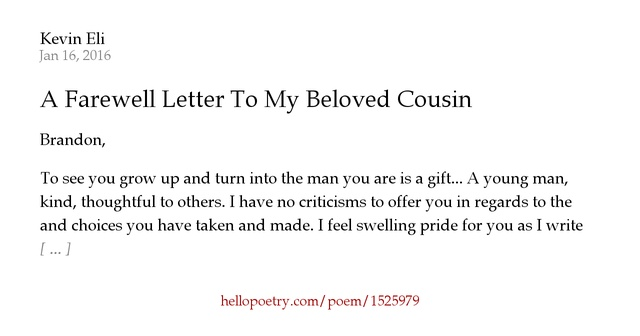 A Farewell Letter To My Beloved Cousin By Kevin Eli - Hello Poetry