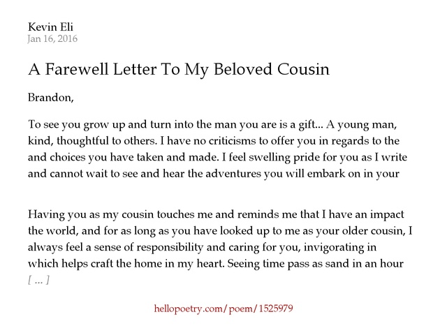 A Farewell Letter To My Beloved Cousin by Kevin Eli Hello Poetry