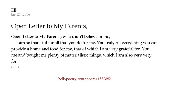 Open Letter to My Parents, by Ell - Hello Poetry