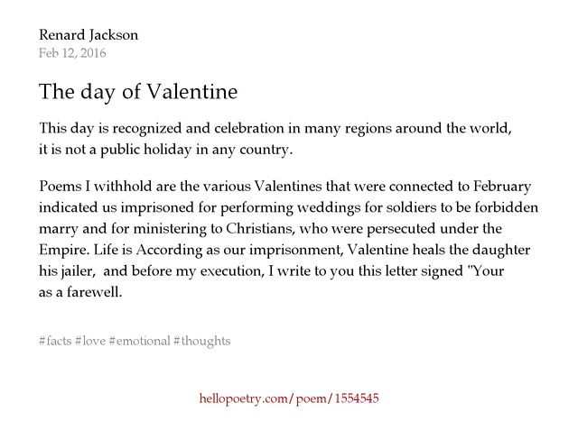 The day of Valentine by Renard Jackson  Hello Poetry