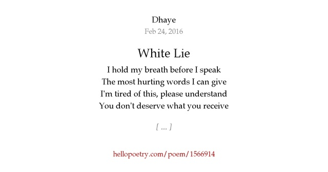 white lies poem